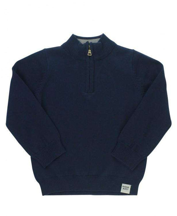 RuggedButts ~ Navy Quarter-Zip Sweater