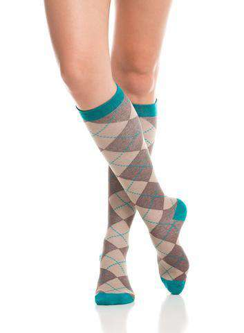 Women's Compression Knee-Highs | Brown & Teal (Cotton)