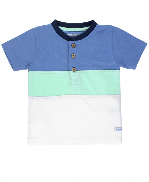 RuggedButts ~ Blue & Neo Mint Color Block Henley