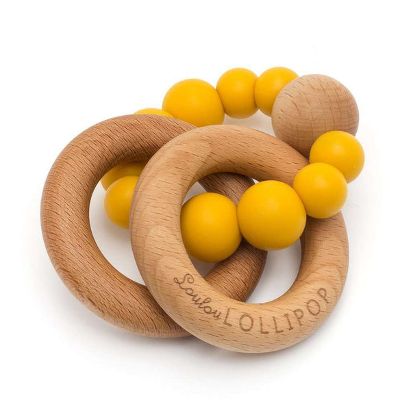 Loulou Lollipop | RATTLE Bubble Silicone Wood Teether ~ Golden Mustard