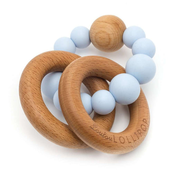 Loulou Lollipop | RATTLE Bubble Silicone Wood Teether ~ Baby Blue