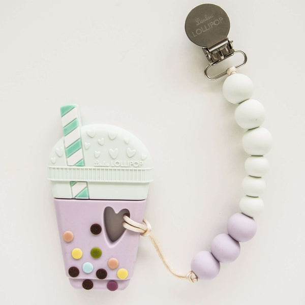 Loulou Lollipop | BUBBLE TEA SILICONE TEETHER WITH HOLDER - LILAC MINT