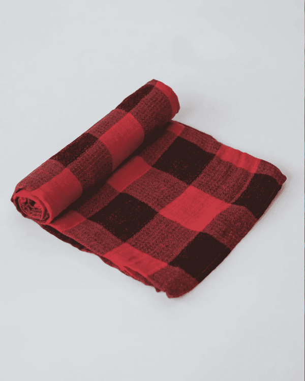 Little Unicorn Cotton Muslin Swaddle Single - Red Plaid