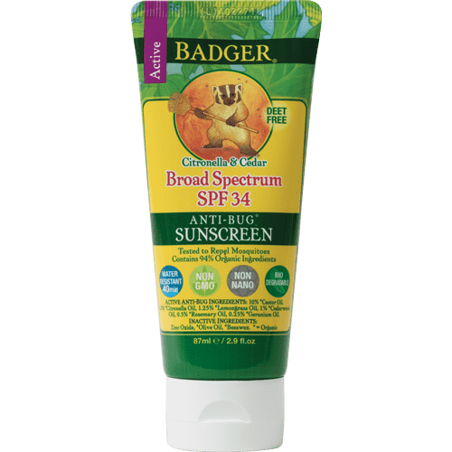 Badger Healthy Body Care ~ Broad Spectrum Anti-Bug Sun Screen SPF 34 (Citronella & Cedar)