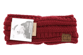 CC Beanie | Adult Solid Ribbed Ponytail Head Wrap ~ Burgundy