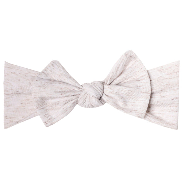 Copper Pearl Knit Headband Bow ~ Oat