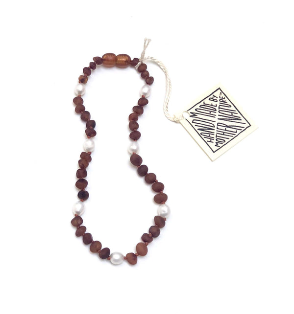 CanyonLeaf Raw Amber + Pearls Halo  | Children's Necklace