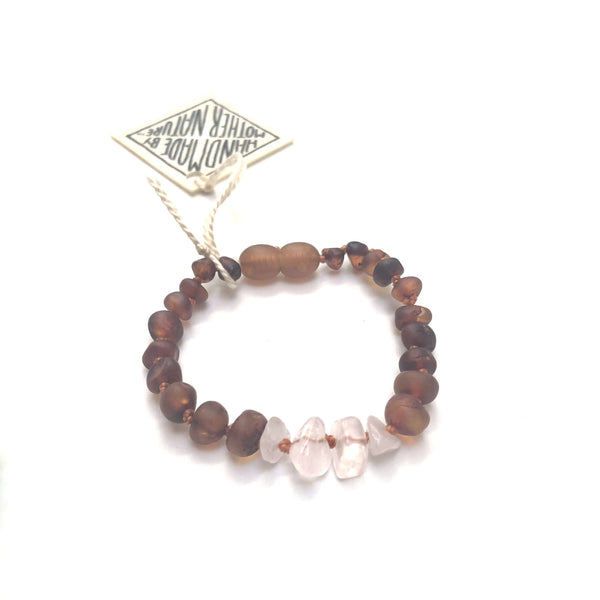 CanyonLeaf Raw Baltic Amber + Raw Rose Quartz | Anklet • Bracelet