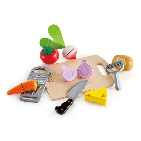 Hape | Wooden Cutting Food | Cooking Essentials 10 Piece Set