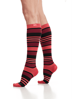 Women's Compression Knee-Highs | Fun Stripes Coral & Black (Nylon)
