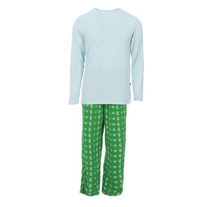Kickee Pants | Men's Long Sleeve Pajama Set ~ Dino Tracks *final sale*