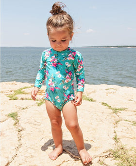RuffleButts | One Piece Long Sleeve Rash Guard ~ Fancy Me Floral