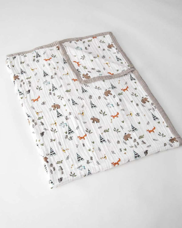 Little Unicorn | Big Kid Cotton Muslin Quilt ~ Forest Friends