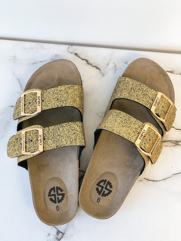 Simply Southern Sandals ~ Gold Glitter