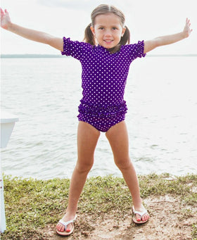 RuffleButts | Rash Guard Bikini ~ Grape Polka Dot Ruffled