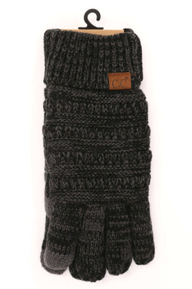 CC Beanie | Adult Multi Color Lined Gloves ~ Grey