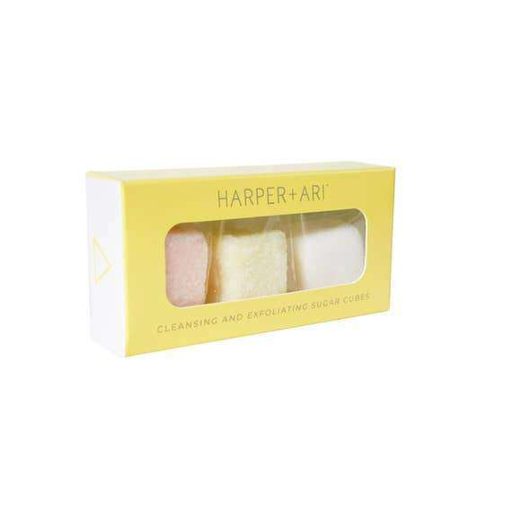 Harper + Ari | Exfoliating Sugar Cubes - Mini Giftbox ~ Peach, Lemon, Coconut