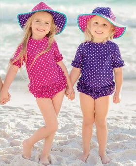 RuffleButts Grape & Berry Reversible Swim Hat