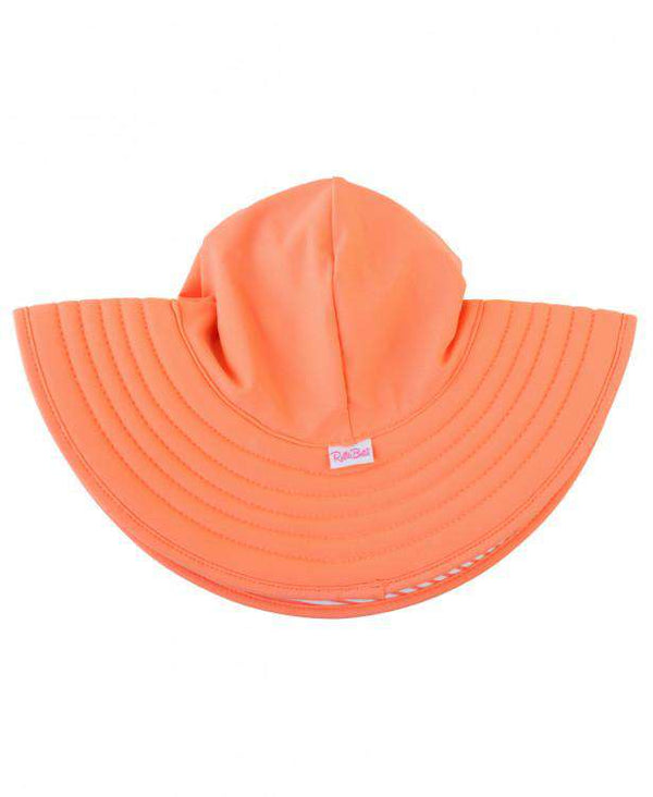 RuffleButts Coral Stripe Reversible Swim Hat