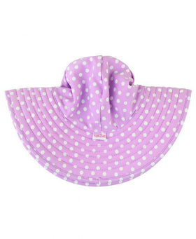 RuffleButts Lilac Polka & Stripe Reversible Swim Hat