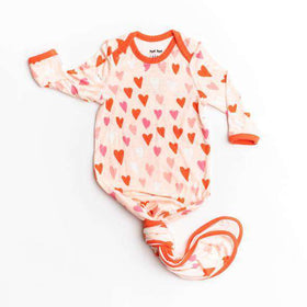 Little Sleepies - Hearts Bamboo Viscose Infant Knotted Gown
