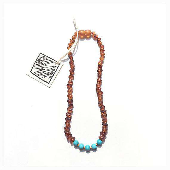 CanyonLeaf Raw Amber + Round Turquoise | Children's Necklace