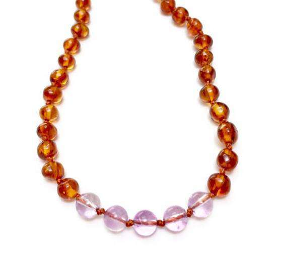 CanyonLeaf Polished Amber + Amethyst Round | Children's Necklace