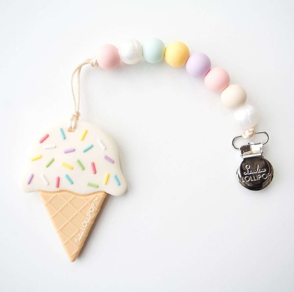Loulou Lollipop | ICE CREAM SILICONE TEETHER WITH HOLDER - COTTON CANDY
