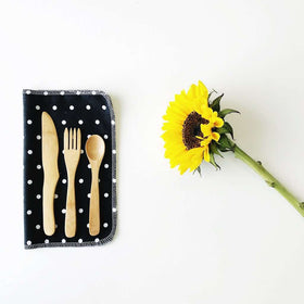 Marley's Monsters | Utensil Wrap + Utensils Black Linen