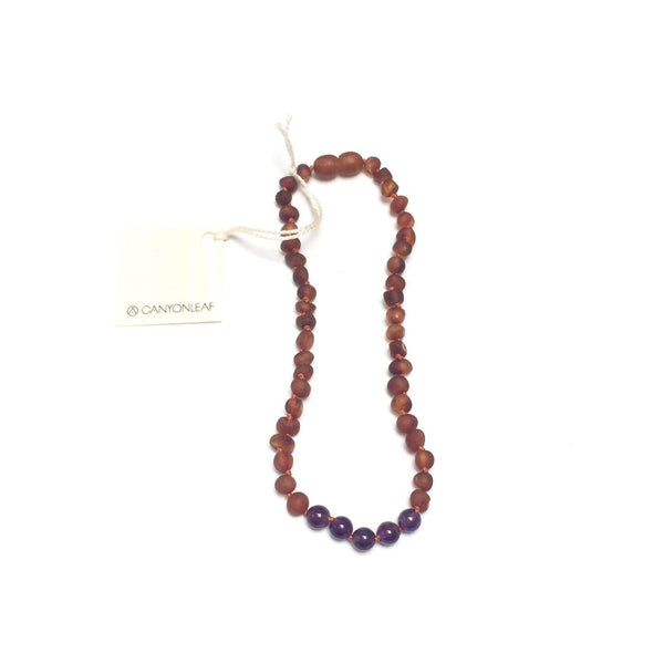 CanyonLeaf Raw Amber + Round Amethyst | Children's Necklace
