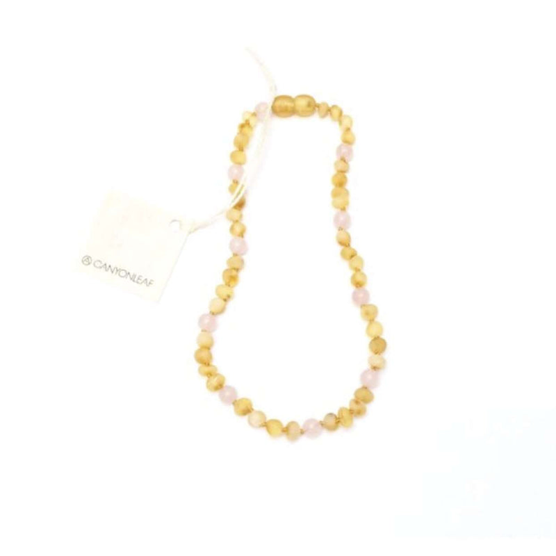 CanyonLeaf Raw Amber + Rose Quartz Gemstone Halo | Children's Necklace