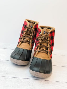 Simply Southern | Lace Up Duck Boots ~ Buffalo Plaid