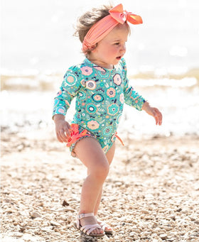 RuffleButts | One Piece Long Sleeve Rash Guard ~ Island Dream