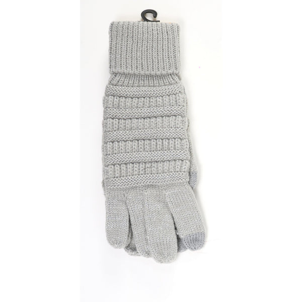 CC Beanie | Adult Metallic Cable Knit Gloves ~ Silver