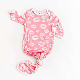 Little Sleepies - Pink Kisses Bamboo Viscose Infant Knotted Gown