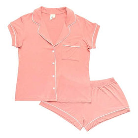 Kyte Baby | WOMEN'S SHORT SLEEVE PAJAMA SET ~ Terracotta with Cloud Trim