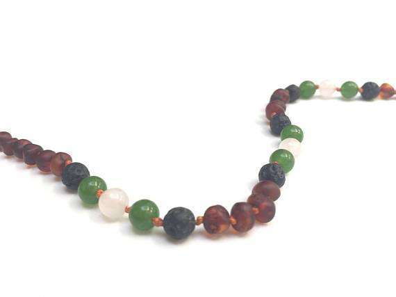 CanyonLeaf Raw Amber | Lava + Jade + Agate Stone | Children's Necklace