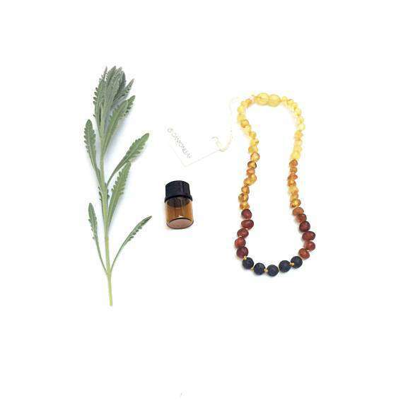 CanyonLeaf Raw Amber Ombre + Lava Stone | Children's Necklace