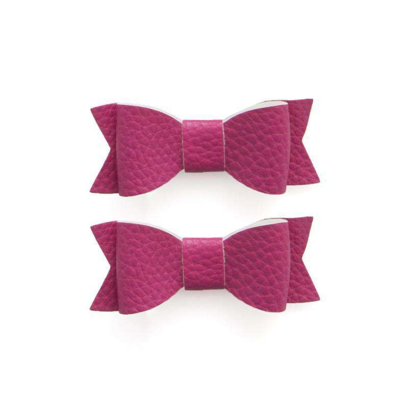 Baby Bling Bows |  Leather Bow Tie Clips 2pk ~ Hot Pink