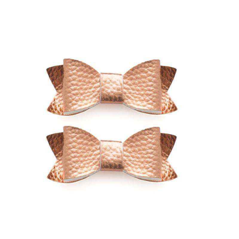 Baby Bling Bows |  Leather Bow Tie Clips 2pk ~ Rose Gold
