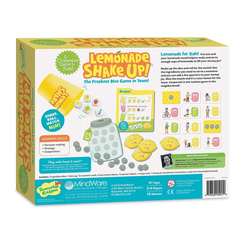 Peaceable Kingdom ~ Lemonade Shake Up! A Cooperative Game for Kids