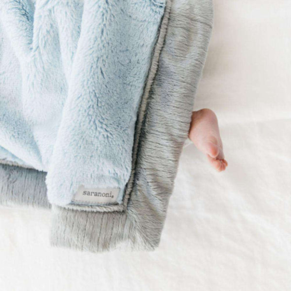 Saranoni Luxury Blanket | Light Blue Lush ~ Gray Lush