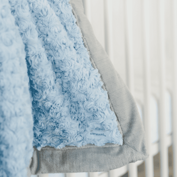 Saranoni Luxury Blanket | Light Blue Swirl ~ Gray Lush