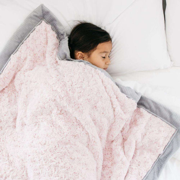 Saranoni Luxury Blanket | Light Pink Swirl ~ Gray Lush