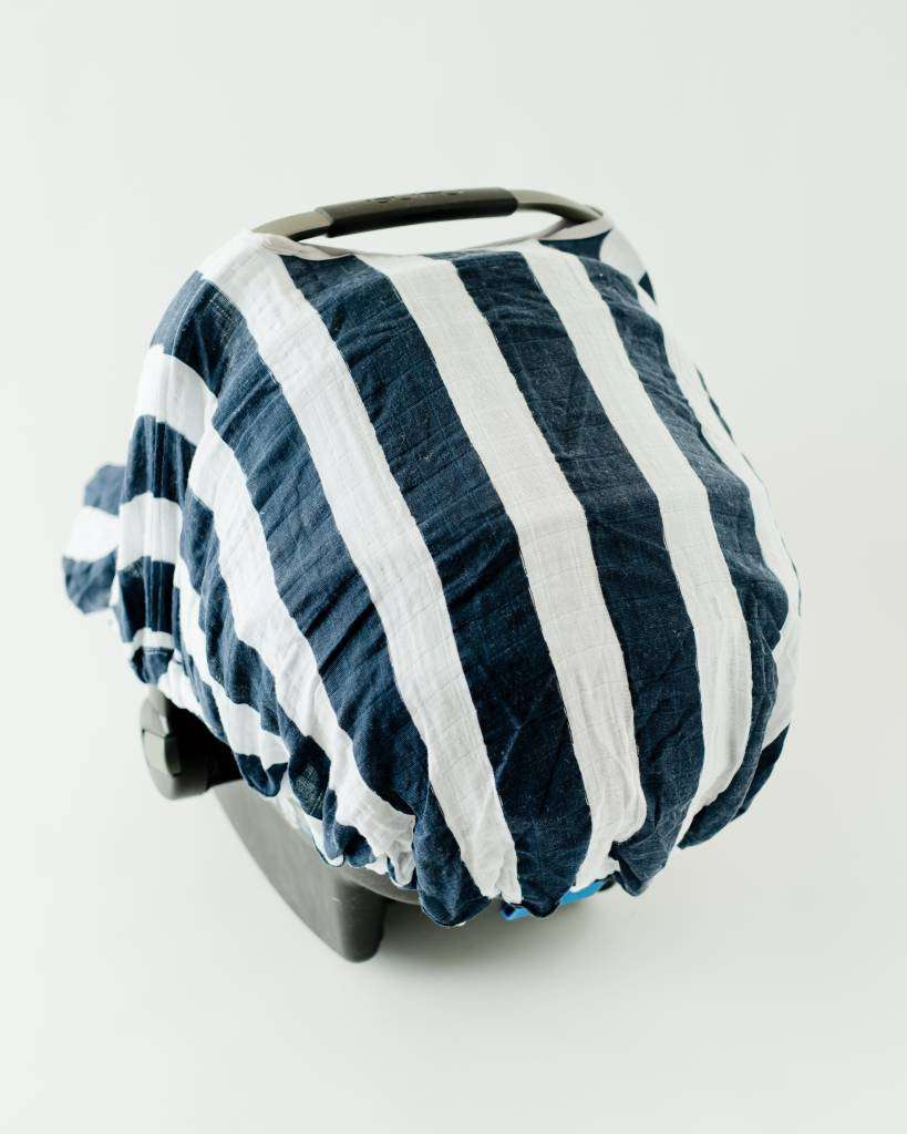 Little Unicorn l Cotton Muslin Car Seat Canopy ~ Navy Stripe : itzy ritzy car seat canopy - memphite.com