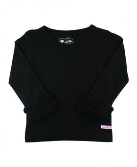 RuffleButts ~ Black Ruffled Long Sleeve Layering Tee