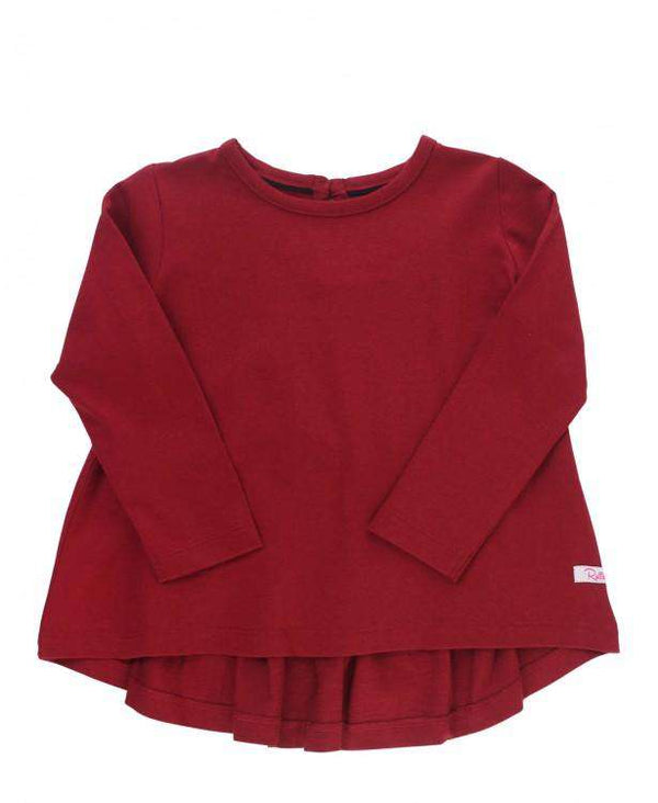 RuffleButts ~ Cranberry Long Sleeve Bow-Back Top