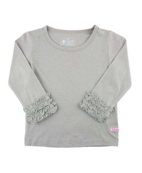 RuffleButts ~ Grey Ruffled Long Sleeve Layering Tee