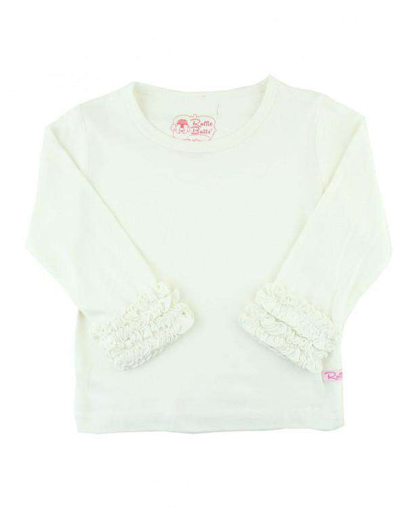 RuffleButts ~ Ivory Ruffled Long Sleeve Layering Tee
