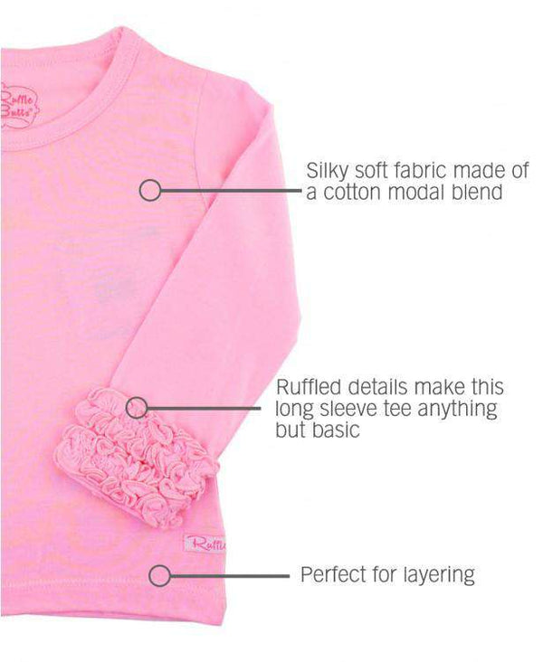 RuffleButts ~ Pink Ruffled Long Sleeve Layering Tee
